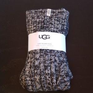 UGG over the knee black heathered socks